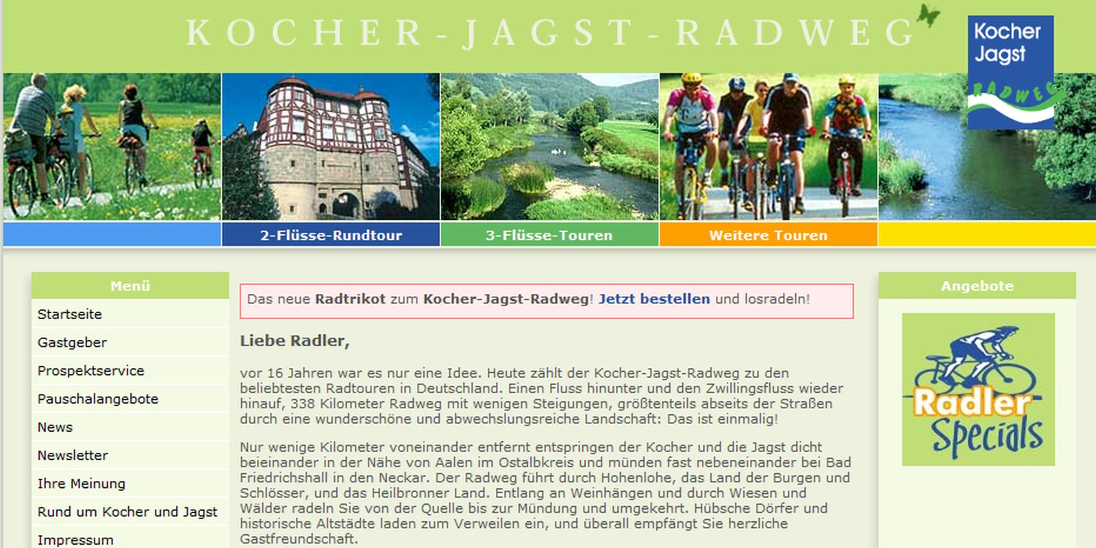 Screenshot Homepage Kocher-Jagst-Radweg