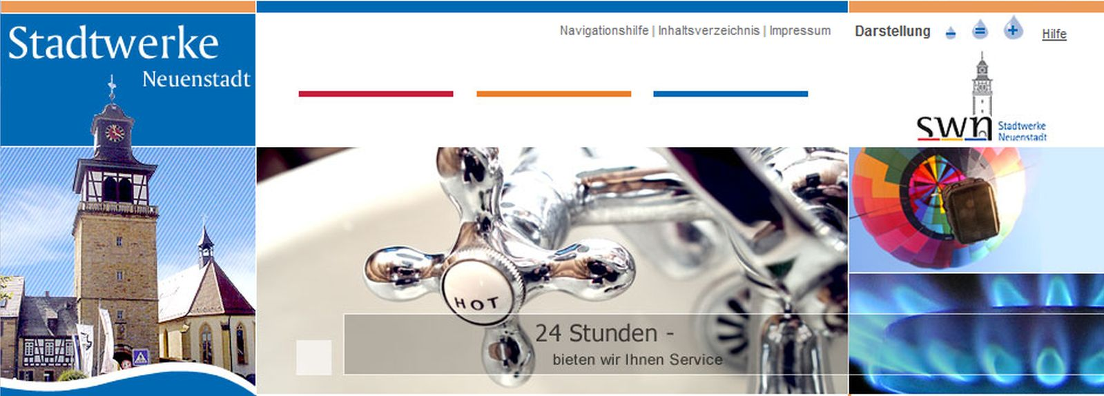 Screenshot Homepage Stadtwerke